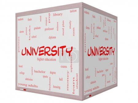 University Word Cloud Concept on a 3D cube Whiteboard