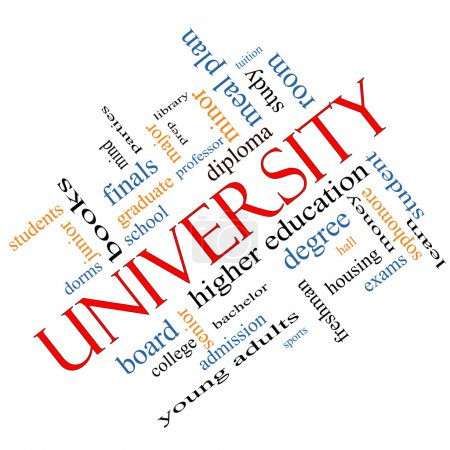 University Word Cloud Concept Angled