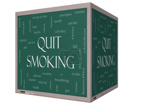 Photo pour Arrêter de fumer la notion de nuage de mot sur une 3d blackboard cube avec excellentes conditions telles que la nicotine, sevrage brutal, quittez date, patch et plus. - image libre de droit
