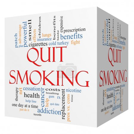 Photo pour Arrêter de fumer la notion de nuage de mot sur une 3d cube avec excellentes conditions telles que la nicotine, sevrage brutal, quittez date, patch et plus. - image libre de droit