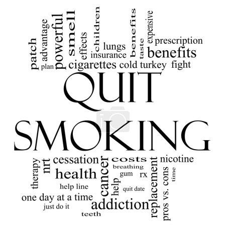 Photo pour Arrêter de fumer mot nuage concept en noir et blanc avec d'excellentes conditions telles que la nicotine, sevrage brutal, quittez date, patch, etc.. - image libre de droit