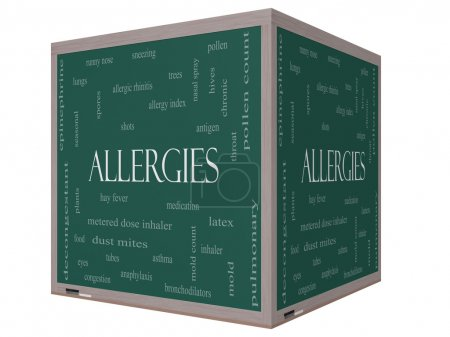 Allergies Word Cloud Concept on a 3D cube Blackboard