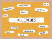 Alergie corkboard slovo koncepce