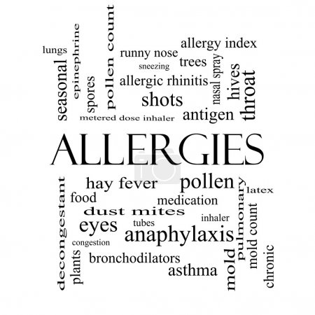 Allergies Word Cloud Concept in black and white
