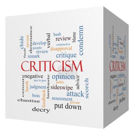 Criticism 3D cube Word Cloud Concept