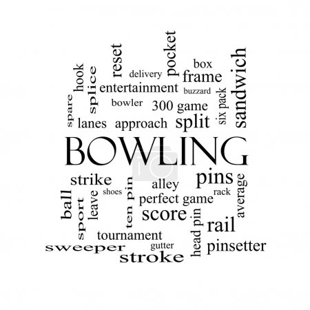Bowling Word Cloud Concept in black and white