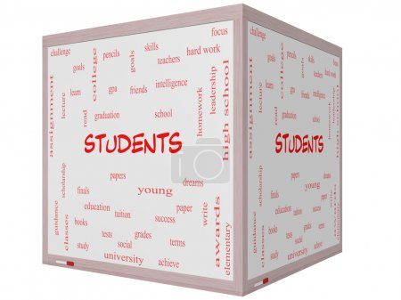 Students Word Cloud Concept on a 3D cube Whiteboard