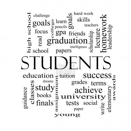 Students Word Cloud Concept in black and white