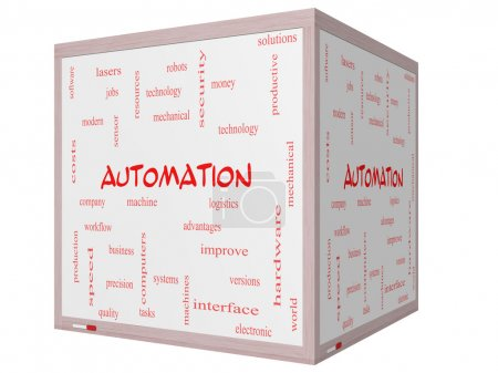 Automation Word Cloud Concept on a 3D cube Whiteboard