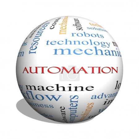 Photo pour 3d sphère mot nuage concept d'automatisation avec excellentes conditions tels que les robots, machine, logistique, etc.. - image libre de droit