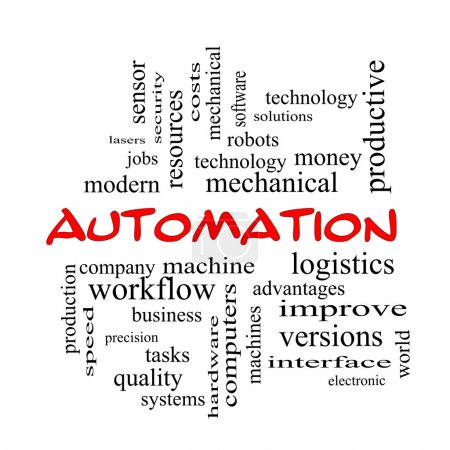 Automation Word Cloud Concept in red caps
