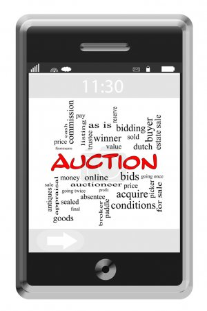 Auction Word Cloud Concept on Touchscreen Phone