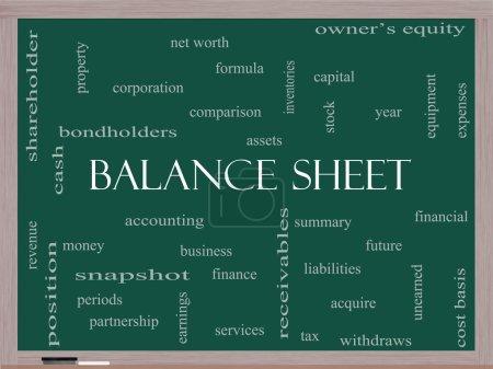 Foto de Concepto de cloud de palabra del balance en una pizarra con grandes términos tales como financieros, activos, impuestos y mucho más. - Imagen libre de derechos