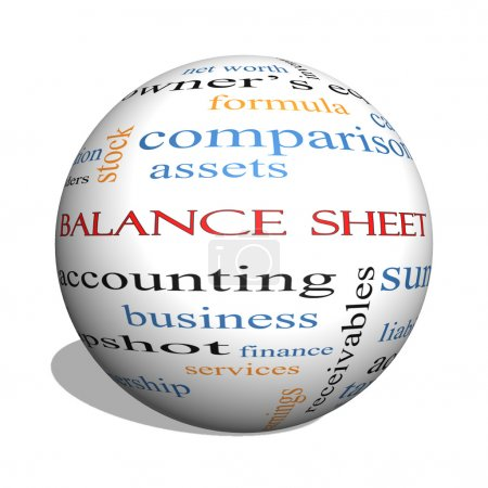 Foto de Concepto de balance general 3d esfera palabra cloud con grandes términos tales como financieros, activos, impuestos y mucho más. - Imagen libre de derechos