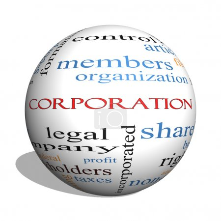 Photo for Corporation 3D sphere Word Cloud Concept with great terms such as shareholders, legal, entity and more. - Royalty Free Image