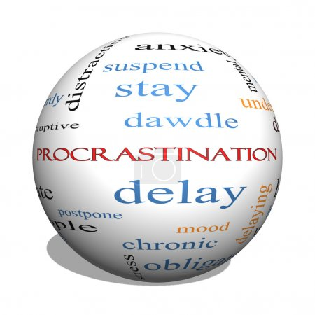Photo for Procrastination 3D sphere Word Cloud Concept with great terms such as anxiety, delay, behavior and more. - Royalty Free Image