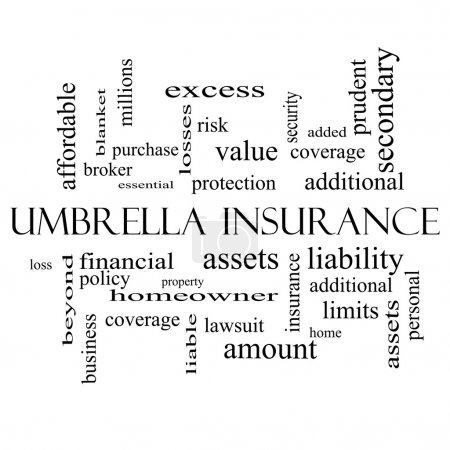 Umbrella Insurance Word Cloud Concept in black and...