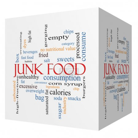 Junk Food 3D cube Word Cloud Concept