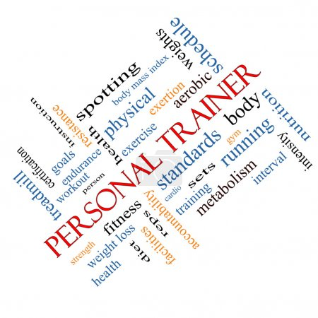 Personal Trainer Word Cloud Concept Angled