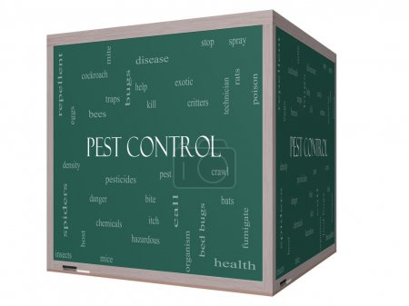 Pest Control Word Cloud Concept on a 3D cube Blackboard