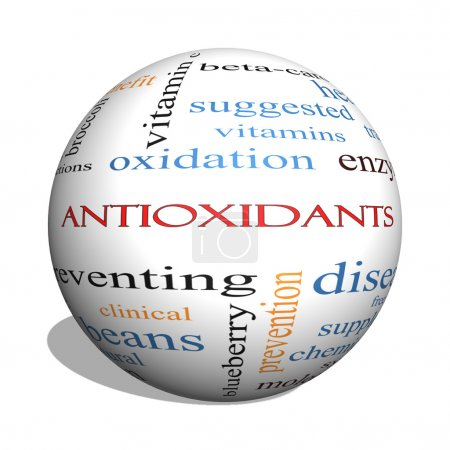 Antioxidants 3D sphere Word Cloud Concept