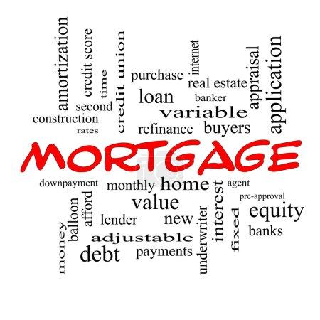Photo pour Mortgage Word Cloud Concept en casquettes rouges avec de grands termes tels que prêt, maison, banquier et plus . - image libre de droit