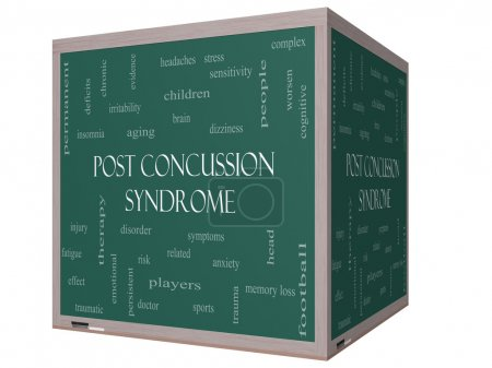 Photo for Post Concussion Syndrome Word Cloud Concept on a 3D Blackboard with great terms such as brain, injury, trauma and more. - Royalty Free Image