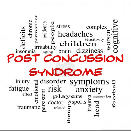 Photo for Post Concussion Syndrome Word Cloud Concept in red caps with great terms such as brain, injury, trauma and more. - Royalty Free Image