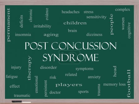 Photo for Post Concussion Syndrome Word Cloud Concept on a Blackboard with great terms such as brain, injury, trauma and more. - Royalty Free Image