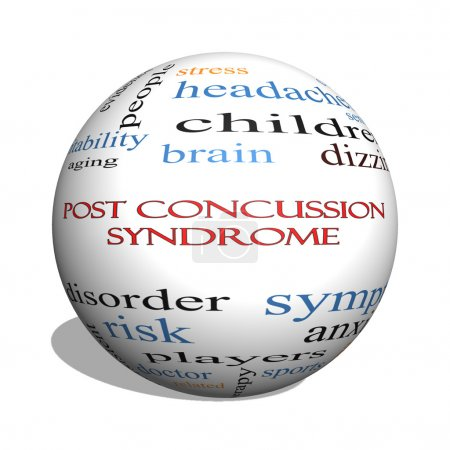Photo for Post Concussion Syndrome 3D sphere Word Cloud Concept with great terms such as brain, injury, trauma and more. - Royalty Free Image