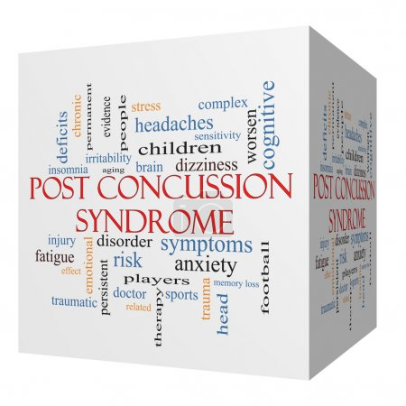 Photo for Post Concussion Syndrome 3D cube Word Cloud Concept with great terms such as brain, injury, trauma and more. - Royalty Free Image