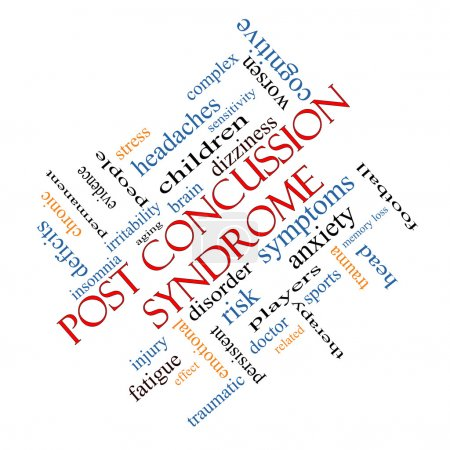 Photo for Post Concussion Syndrome Word Cloud Concept angled with great terms such as brain, injury, trauma and more. - Royalty Free Image