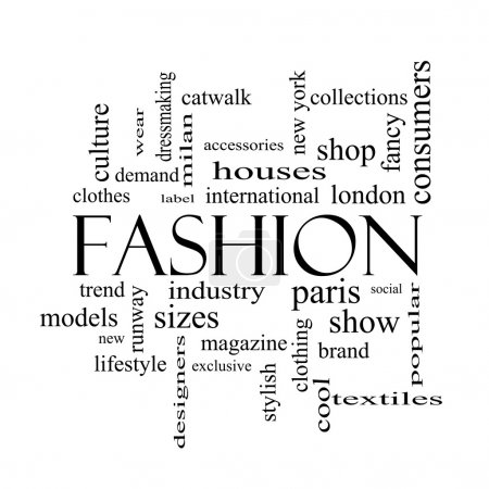 Photo for Fashion Word Cloud Concept in black and white with great terms such as catwalk, models, clothing and more. - Royalty Free Image