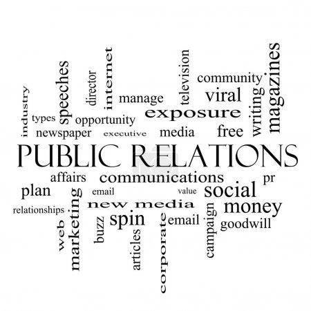 Photo for Public Relations Word Cloud Concept in black and white with great terms such as social, viral, affairs and more. - Royalty Free Image