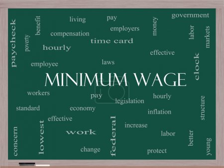 Foto de Salario mínimo concepto de cloud de palabra en una pizarra con grandes condiciones tales como pagar, leyes, cada hora, los trabajadores y más. - Imagen libre de derechos