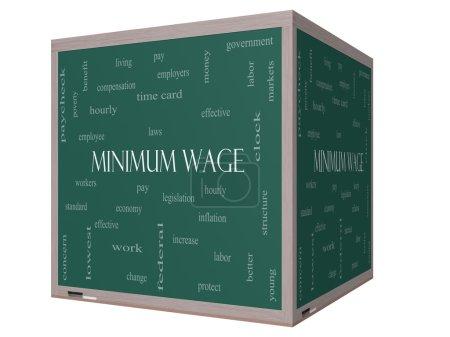 Foto de Salario mínimo concepto de cloud de palabra en un 3d cubo pizarra con grandes términos tales como sueldo, leyes, cada hora, los trabajadores y más. - Imagen libre de derechos