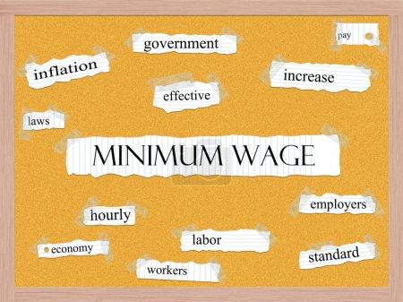 Foto de Salario mínimo concepto de palabra corkboard con grandes términos tales como gobierno, aumento, la inflación y más. - Imagen libre de derechos