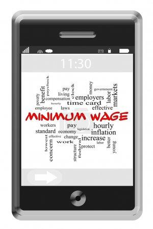 Foto de Salario mínimo concepto de cloud de palabra en un teléfono con pantalla táctil con grandes términos tales como cada hora, la remuneración, los trabajadores y más. - Imagen libre de derechos