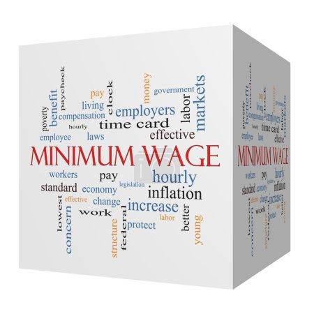 Foto de Concepto de salario mínimo 3d cubo palabra cloud con grandes condiciones tales como pagar, leyes, cada hora, los trabajadores y más. - Imagen libre de derechos