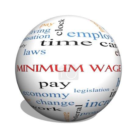 Foto de Concepto de salario mínimo 3d esfera palabra cloud con grandes condiciones tales como pagar, leyes, cada hora, los trabajadores y más. - Imagen libre de derechos