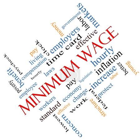 Foto de Concepto de salario mínimo palabra cloud acodada con grandes términos tales como sueldo, leyes, cada hora, los trabajadores y más. - Imagen libre de derechos