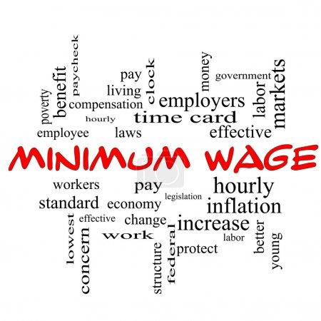 Foto de Concepto de salario mínimo palabra cloud en gorras rojas con grandes condiciones tales como pagar, leyes, cada hora, los trabajadores y más. - Imagen libre de derechos