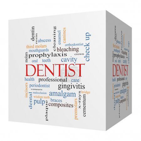 Dentist 3D cube Word Cloud Concept