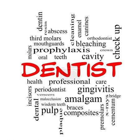 Dentist Word Cloud Concept in red caps