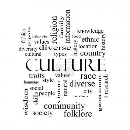 Photo pour Culture Word Cloud Concept en noir et blanc sur un tableau noir avec de grands termes tels que valeurs, diversité, langue et plus . - image libre de droit