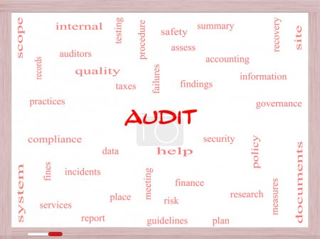 Audit Word Cloud Concept on a Whiteboard
