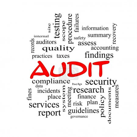 Audit Word Cloud Concept in red caps with great te...