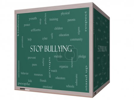 Stop Bullying Word Cloud Concept on a 3D cube Blackboard