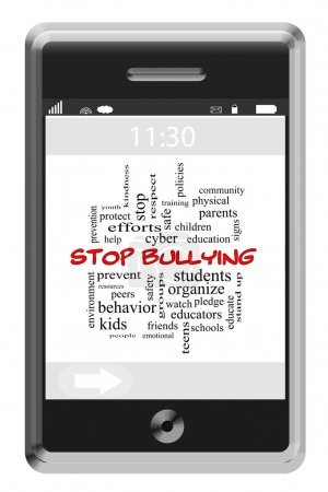 Stop Bullying Word Cloud Concept on a Touchscreen Phone