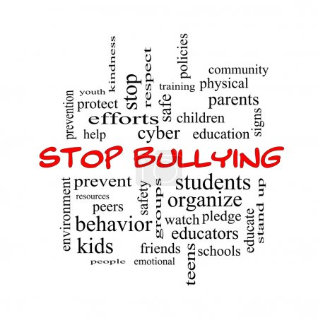 Stop Bullying Word Cloud Concept in red caps
